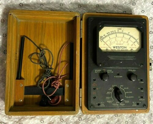 "vintage ""WESTON"" MODEL 779 ANALYZER w/NICE WOOD BOX (TYPE 1A) TESTED works great"