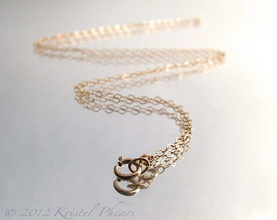 Dainty 14k Gold-Filled chain - sparkly flat oval link yellow 16