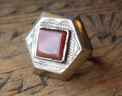 Men's square Niger  Tuareg hexagonal agate hand engraved ring
