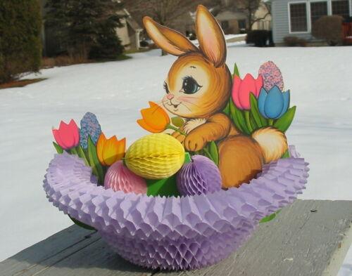 Vintage Beistle Easter Bunny Egg Basket 3-D Tissue Honeycomb Centerpiece Fold Up
