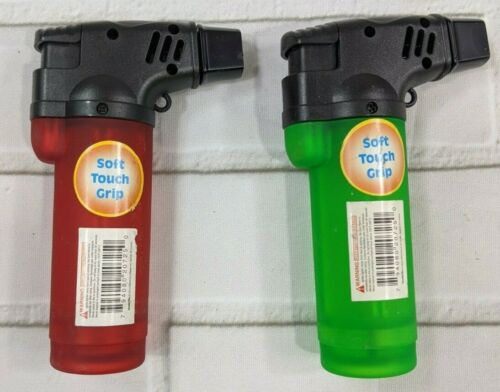 """Torch Lighters Set of 2 Soft Touch Grip 4"""" Red Green"""
