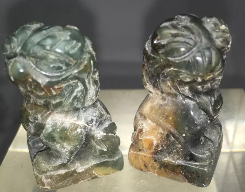 2 Small  Jade/ Shoushan Carved Stone Foo Dogs Shishi Guardians
