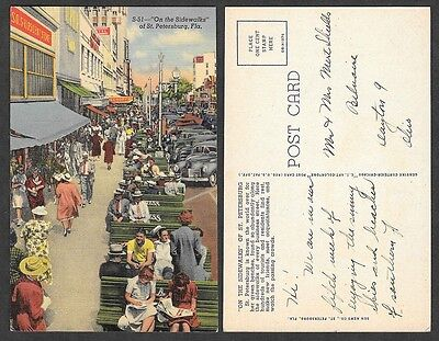 Old Florida Postcard - St. Petersburg - On the Sidewalks
