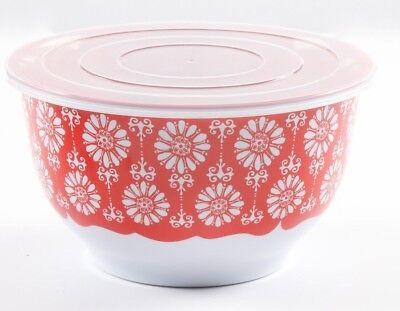 "NEW Pioneer Woman Red Floral Bursts Melamine 9-1/2"" Serving / Storage Bowl Lid"