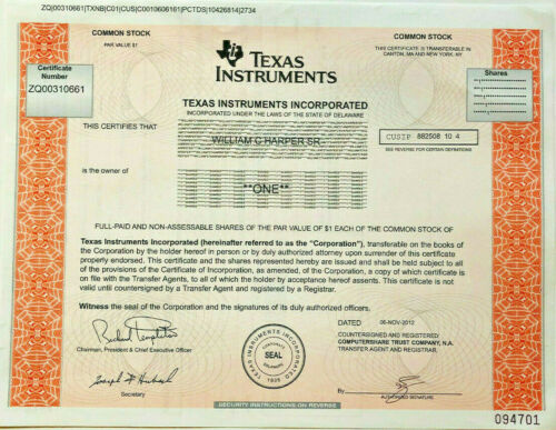 Texas Instruments > semiconductor tech company stock certificate