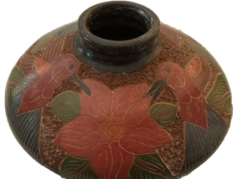 Hummingbirds, San Juan de Oriente Nicaraguan Small Pottery Vase, Colorful Gift