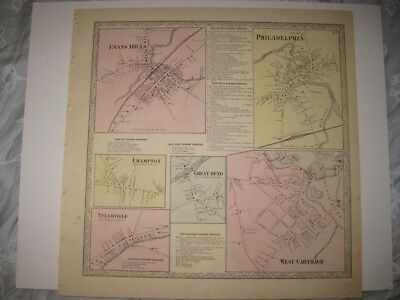 ANTIQUE PHILADELPHIA WEST CARTHAGE EVANS MILLS JEFFERSON COUNTY NEW YORK MAP NR