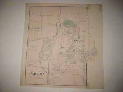 VINTAGE ANTIQUE 1873 BABYLON city SUFFOLK COUNTY NEW YORK HANDCOLORED MAP SUPERB County New York Antique Map