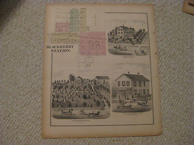 ANTIQUE 1871 BLACKBERRY STATION TOWNSHIP KANE COUNTY ILLINOIS HANDCOLORED MAP NR Blackberry Maps