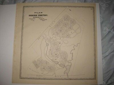 ANTIQUE 1864 BROOKSIDE CEMETERY WATERTOWN JEFFERSON COUNTY NEW YORK MAP RARE NR