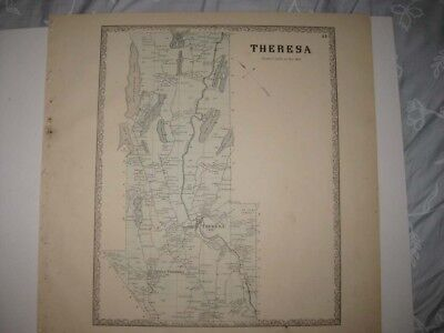 ANTIQUE 1864 THERESA JEFFERSON COUNTY NEW YORK HANDCOLORED MAP RARE SUPERB FINE