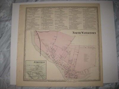 ANTIQUE 1864 NORTH WATERTOWN JUHELVILLE JEFFERSON COUNTY NEW YORK HANDCLR MAP NR