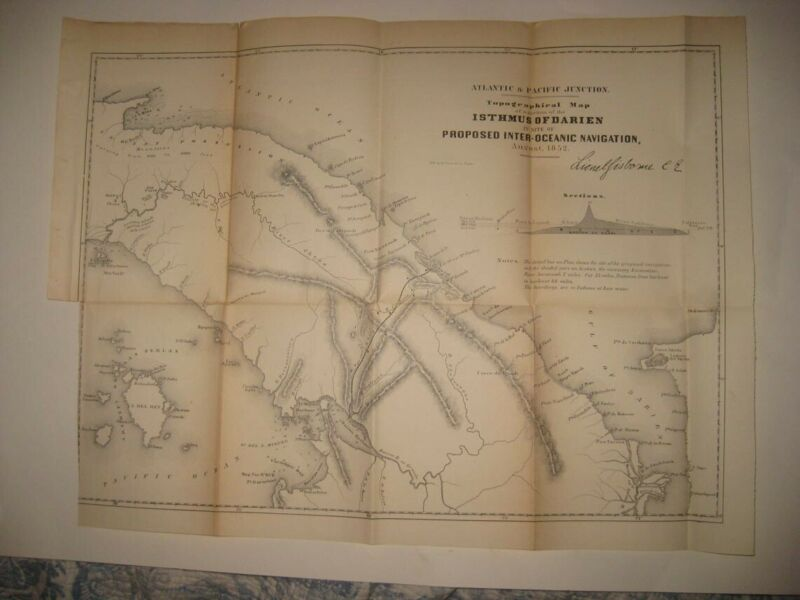 ANTIQUE 1854 ISTHMUS OF DARIEN PANAMA CANAL CENTRAL AMERICA DATED MAP RARE FINE