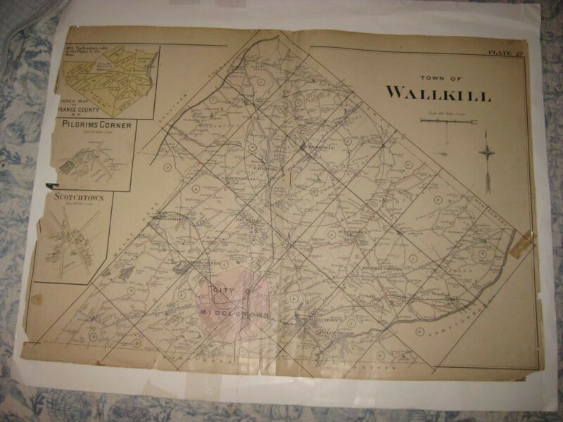 RARE ANTIQUE 1903 WALLKILL MIDDLETOWN ORANGE COUNTY NEW YORK HANDCOLORED MAP NR