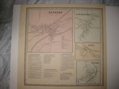 ANTIQUE 1864 ANTWERP OXBOW PLESSIS LA FARGEVILLE JEFFERSON COUNTY NEW YORK MAP