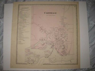 ANTIQUE 1864 CARTHAGE JEFFERSON COUNTY NEW YORK HANDCOLORED MAP ISLANDS FINE NR
