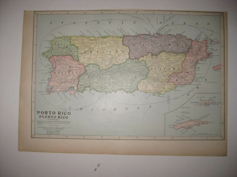 ANTIQUE 1899 PORTO PUERTO RICO MAP RAILROAD CART ROAD VIEQUES ISLAND MARITIME NR