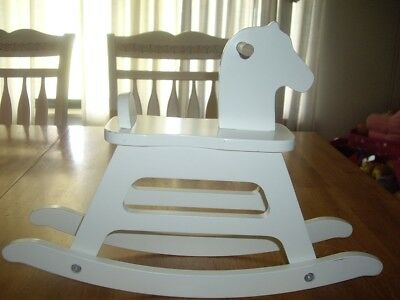 "EUC Pottery Barn Kids White Rocking Horse Doll Size 18"" Dolls"