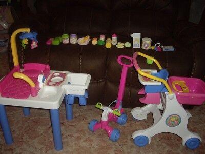 VTG  Fisher Price Little Mommy Baby Doll Set Nursery Table Shop Cart Bike Sounds