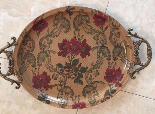 Gorgeous Floral Castilian Tray W/ Handles Antique Decorative Pottery Glass Piece