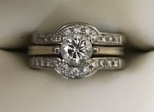 14K White Gold Solitaire Engagement with 2 Custom Bands