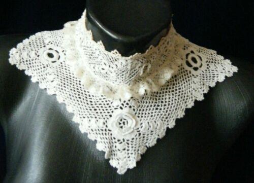 Vtg High Neck Collar Irish crochet lace 3d floral design triangle shape design