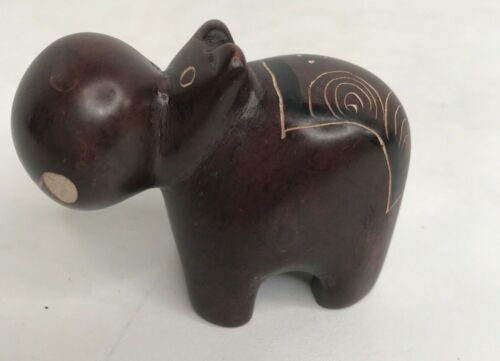 Rare Signed Hand Carved Crafted Soapstone Brown Hippo Hippopotamus Figurine EUC