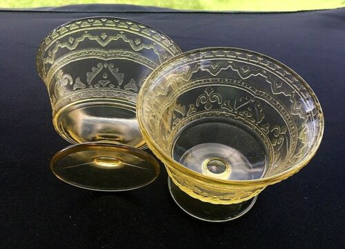 Federal Depression Glass Patrician Amber (Spoke) Champagne Tall Sherbet Set of 2