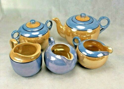 VINTAGE JAPANESE  LUSTERWARE TEA Set replacements  Peach Blue