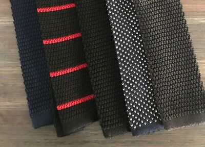 - NEW Lot of 5 100% Silk Knit Ties - Navy, Black, Gray, Red, Stripe, Knitted
