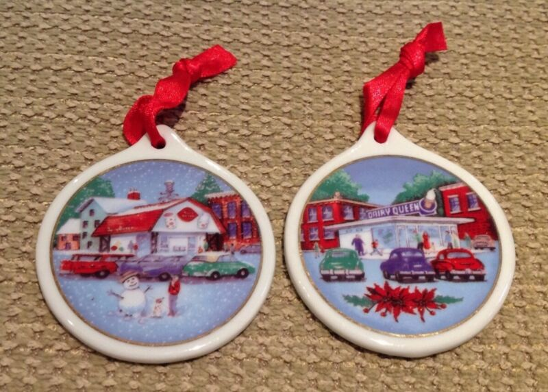 Dairy Queen Vintage Ceramic Ornaments 1998 Lot of 2 advertising holiday