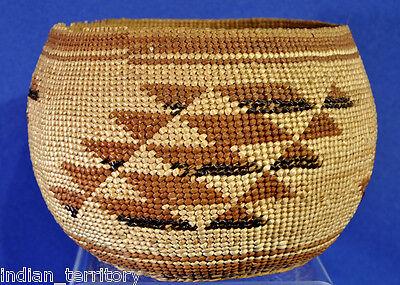 Antique Northern California Karok / Karuk / Hupa Indian Basketry Bowl c.1910