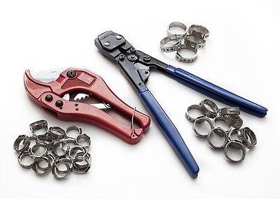 Pex Kit Pipe Tube Crimper Crimping Tool Plumbing Cutter 35 Rings Cinch Clamps
