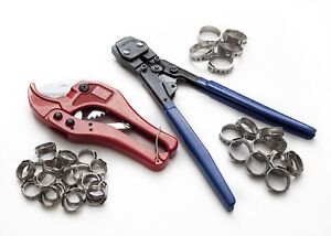 Pex KIT pipe tube crimper, crimping tool, plumbing cutter +35 Rings cinch clamps
