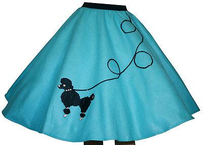 Aqua Blue FELT 50s Poodle Skirt _ Adult Size LARGE _ Waist 35