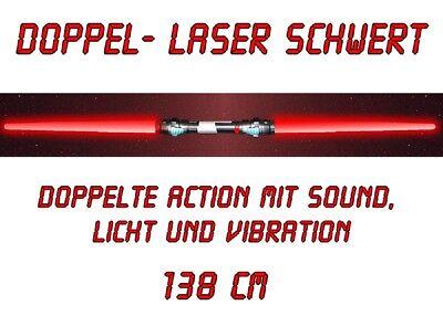 Doppel-Laserschwert Lichtschwert Sound Licht Vibration 138 cm rot