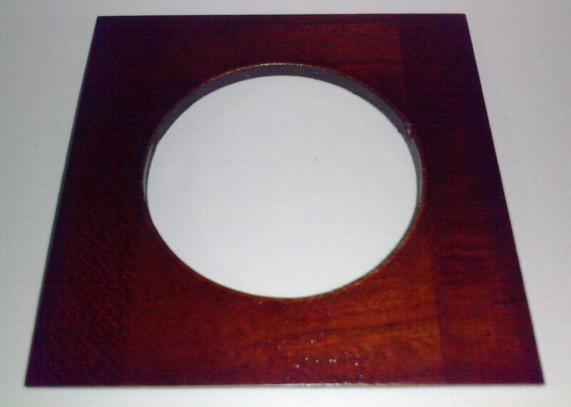"""1 LENS BOARD 4.5""""Sq. for Universal R.O.Co. of solid Mahogany, 65mm, or free hole"""