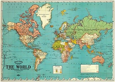 World Map - Vintage style  Poster Cavallini & Co 20 x 28 Wrap
