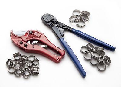 Pex Kit Crimper Crimping Tool Plumbing Cutter 35 Rings Cinch Clamps