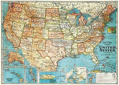 Vintage Map Of The United States Parchment Poster Print Size 18 X 27 5 Inches