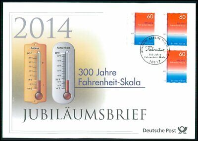GERMAN POST ANNIVERSARY-FDC 2014 FAHRENHEIT SCALA THERMOMETER PHYSICS u774