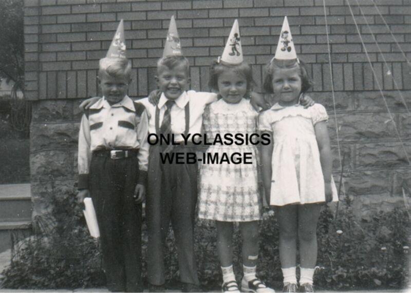 50s CUTE KIDS WEARING DISNEY CAP PHOTO BOY-GIRL BIRTHDAY PARTY VINTAGE AMERICANA