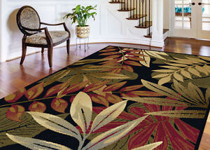 5x7 Tropical Palm Floral Coastal Black Area Rug *FREE SHIPPING*