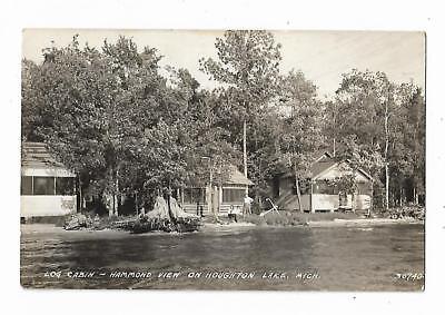 Old Real Picture Postcard Log Cabin Hammond View Houghton Lake MI EKKP Stamp Box