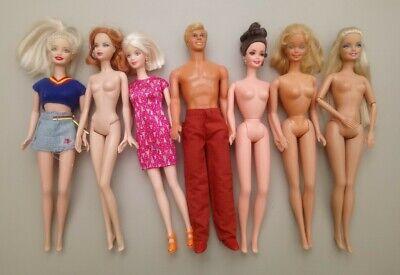 Vintage Barbie & Ken Bundle ~ 7 Dolls ~ Clothed & Nude ~ Good Condition