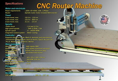 Cnc 3 Axis Router Engraver Engraving Drilling Milling Machine 850133-52.533.5