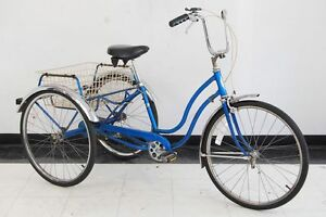 Vintage-1976-Schwinn-Town-and-Country-adult-tricycle-trike-blue-bicycle-bike-USA