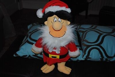 Fred Flintstone Santa Claus Plush Stuffed Doll Hanna Barbera Christmas Large 15