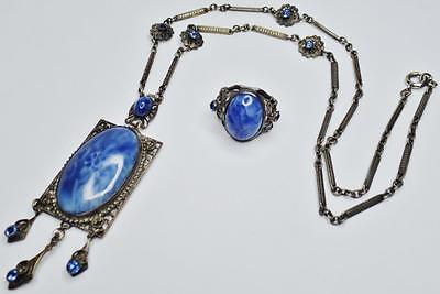 BEAUTIFUL ANTIQUE ART DECO BLUE CZECH GLASS SAPPHIRE FILIGREE NECKLACE RING SET