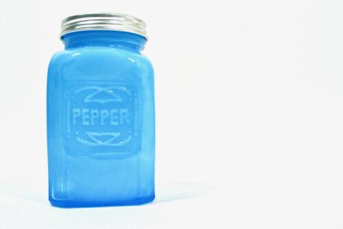 Vintage Blue Slag Glass Range Pepper Shaker Rectangular Square Turquoise Deco